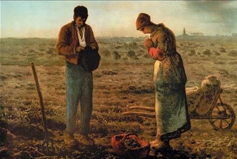 Pintura de Millet representando a dos pastores rezando.