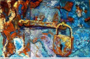 Imagen de un candado dorado sobre un fondo azul y naranja.
