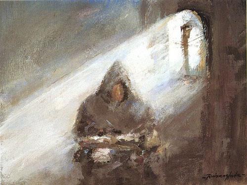 Pintura de Ruizanglada en la que está un monje rezando en su celda
