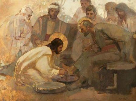 Pintura en tonos dorados de J. Kirk Richards, y en la que representa la escena bíblica del lavatorio de los pies.