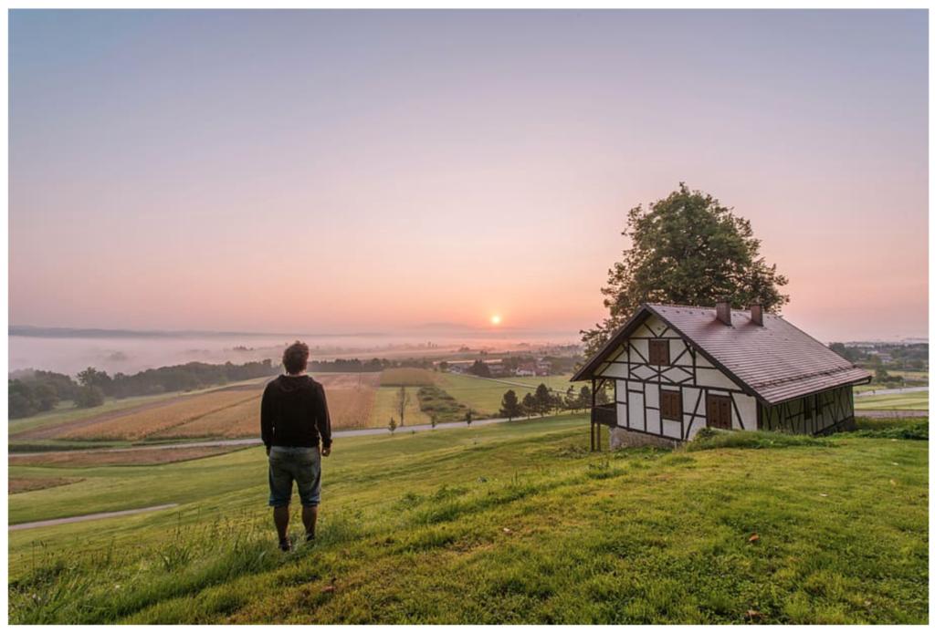 Hombre contemplando una puesta de sol desde el campo.