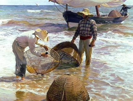 Dos hombres están pescando en un cuadro de Sorolla